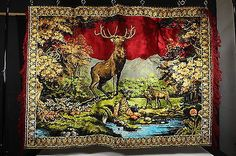 """Buck Stag Deer Tapestry Man Cave Woodland Theme Deer Camp Wall Hanging 48"""" x 65"""""""