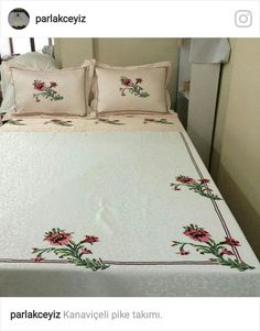 This Pin was discovered by Gül Bed Sheet Curtains, Bed Sheets, Embroidered Bedding, Embroidered Clothes, Duvet Bedding, Bedding Sets, Bed Covers, Pillow Covers, White Bedding