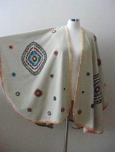 Beige Poncho Handcrocheted Pieces Appliqued on Beige by crochetlab