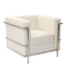 Charles Le Corbusier LC2 Petit Confort 30u0027u0027 Chair White