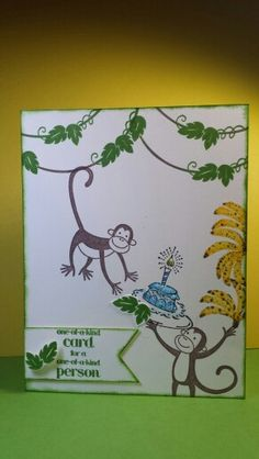 Stampin Up kids birthday card using: Voila (2006), Monkey Business (2005), and A Dozen Thoughts, stamp sets.