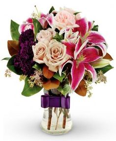 Beautiful roses, lilies and snapdragons bouquet is a perfect gift for her...Ordered for Auntie Lynn
