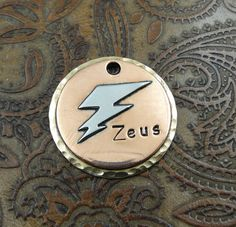 Handmade Dog ID Tag,Lightning Bolt Dog Tag, Pet ID Tag,Custom Dog Collar ID Tag by IslandTopCustomTags on Etsy https://www.etsy.com/listing/179339831/handmade-dog-id-taglightning-bolt-dog