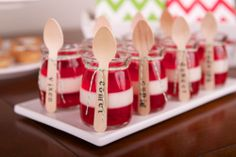 Layered Red & White Jelly in Mini Pots with Wooden Teaspoons (stamped using our alphabet stamp kit) & Bakers Twine