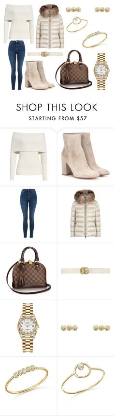 """Day in New York"" by laura2703 ❤ liked on Polyvore featuring Rebecca Taylor, Gianvito Rossi, Topshop, Moncler, Gucci, Rolex, Jennifer Meyer Jewelry and ZoÃ« Chicco"