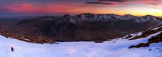 Panoramic photography Tryfan the surrounding Glyders and Snowdon in the background at sunset Snowdonia Wales at Winter Snowdonia Wales , Panoramic Canvas Prints Snowdonia North Wales,Winter snowy landscape North Wales
