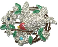 #2907 Pot Metal Bird on a Branch Enamel  Rhinestone Pin 1930s Exclusively at Lee Caplan Vintage Collection on RubyLane