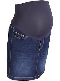 "Maternity Smooth-Panel Denim Skirts (16"")"