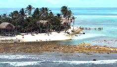 Our cabanas on Long Caye at Glover's Reef, Belize