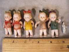 """6 OLD MINIATURE GERMAN BISQUE DOLLS TO 2"""" LONG"""
