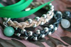 leather braid + bead bracelets