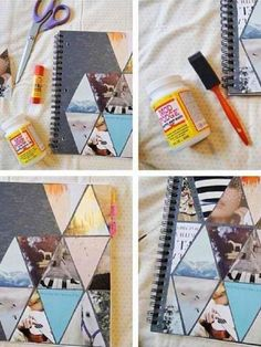 Notepad decorated with photographs.