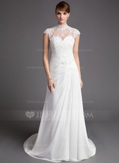 Wedding Dresses - $196.99 - A-Line/Princess High Neck Court Train Chiffon Tulle Wedding Dress With Ruffle Lace Beadwork (002012176) http://jjshouse.com/A-Line-Princess-High-Neck-Court-Train-Chiffon-Tulle-Wedding-Dress-With-Ruffle-Lace-Beadwork-002012176-g12176?ver=xdegc7h0
