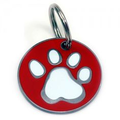 Hand Painted Stainless Steel and Enamel Pawprint Dog ID Tag
