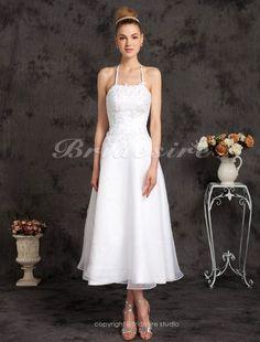 A-line Organza Tea-length Halter Wedding Dress with Beaded Appliques - $109.99