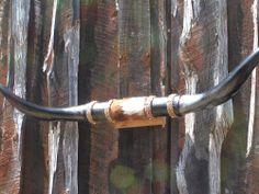 MOUNTED Longhorn Steer Horns Black Wall Hang Cowhide center 1220