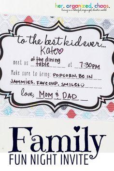 Family Fun Night Invite | Her Organized Chaos