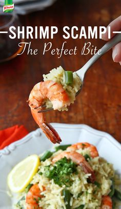 The best recipe for Shrimp Scampi Over Rice is simply scrumptious and easy to make. 1. Season shrimp with salt and pepper and cook in a nonstick skillet over medium-high heat, stirring occasionally, until pink 2. Add garlic, lemon juice, butter spread, and hot Knorr® Rice Sides™ - Herb & Butter with green beans 3. Serve, eat, and enjoy!