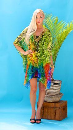 Lotta Stensson Reptile Rainbow Lace up Mid Thigh Poncho! #lottastensson #lottanyc #fashion #beachwear #resortwear #lottalove