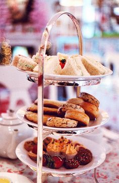A nice Afternoon Tea Party setup.  I think I want to start my snacking at the bottom of the tray.
