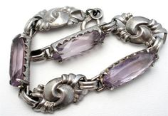 Art Nouveau Sterling Silver Natural Amethyst 12 Ct Gemstone Bracelet Antique | eBay