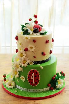 Ladybug cake ~ can be modified for shower or tea party