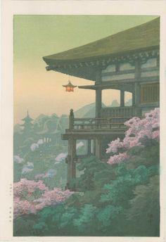 """Kiyomizu Temple, Kyoto"" ITO, Yuhan Ukiyo-e Gallery Japanese Art Prints, Japanese Drawings, Japanese Painting, Chinese Painting, Japon Illustration, Japanese Illustration, Botanical Illustration, Kiyomizu Temple, Art Asiatique"