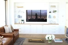 10 Ideas for Media Wall Built-insBECKI OWENS Built-in shelves are my favorite way to handle a media wall. Clean and pretty, they add uselful design to your space. Be inspired with these 10 ideas. Living Room Built Ins, My Living Room, Home And Living, Tv Built In, Built In Shelves, Built In Tv Wall Unit, Built In Media Center, Basement Built Ins, Basement Ceilings