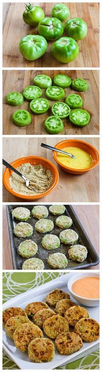 Baked Green Tomatoes with Sriracha-Ranch Dipping Sauce