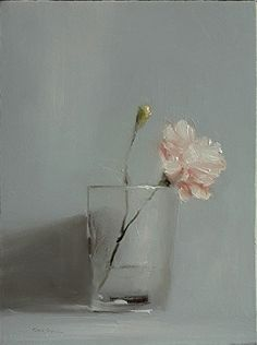 Carnation in Glass by Neil Carroll Oil ~ 8 x 6
