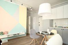 metamorfoza - kawalerka 29m2 skandynawskie pastele - zdjęcie od Archomega Biuro Architektoniczne - Kuchnia - Styl Skandynawski - Archomega Biuro Architektoniczne