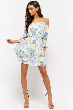 Floral Print Off-the-Shoulder Mini Dress Forever 21, Shop Forever, Pretty Blue Eyes, Long Haired Chihuahua, Sweet Girls, Casual Dresses, 21 Dresses, Fashion Outfits, Fashion Clothes
