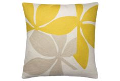 Embroidered yellow pillow