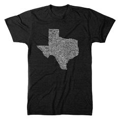 """This is our popular Texas Towns design, AKA """"I've Been Everywhere"""" tee. We hand wrote 187 Texas towns in their correct geographic location. This is a one of a kind design that is sure to start up a co"""