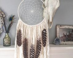 Large White Dream Catcher with Turkey Feathers - Boho Decor - Feather Wall Art - Bohemian Dreamcatcher