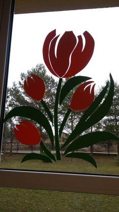Applique Patterns, Flower Patterns, Chalk Markers, Spring Crafts, Spring Time, Diy And Crafts, Kindergarten, Neon Signs, Windows