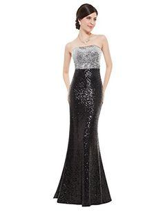 Wow all your friends in the most beautiful prom gown ever made! Starting with a classic strapless neckline the dress features a silvery sequined bodice that flows into a boldly colored sequined skirt and ends with slightly flared mermaid skirt.