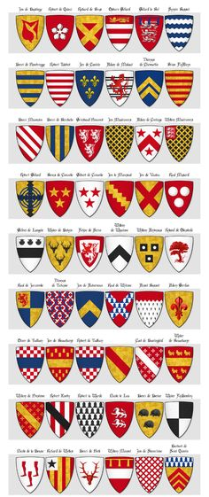 Modern illustration of The Dering Roll of Arms - Panel 5 - arms 217 to 270