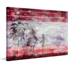 Parvez Taj Patriotic Palms Print on Canvas, Size: 36 inch x 24 inch, Multicolor