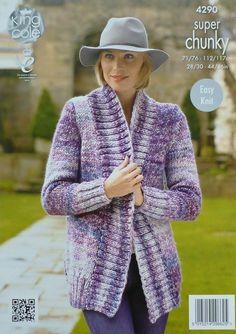 K4290 Ladies Long Sleeve Edge-to-Edge Jacket by KnittingPatterns4U