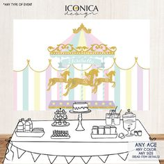 Carousel First Birthday Party Backdrop Girls Baby by IconicaDesign