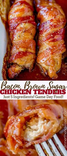 Bacon Brown Sugar Chicken Tenders - Dinner, then Dessert The perfect treat for your game day parties! Brown Sugar Chicken, Brown Sugar Bacon, Chicken Wrapped In Bacon Recipe With Brown Sugar, Maple Syrup Chicken, Brown Sugar Carrots, Brown Sugar Syrup, Brown Sugar Glaze, Frango Bacon, Game Day Food