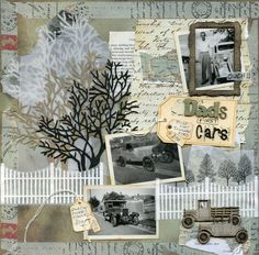 Dad's First Cars ~ Masculine heritage page with with great layering of elements.