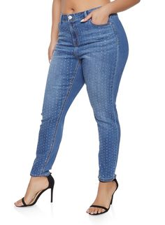 c3c4be2afc7 Plus Size Almost Famous Rhinestone Studded Jeans - MEDIUM WASH - Size 22  Studded Jeans