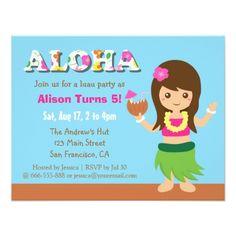 Luau Birthday Party Invitations Colourful Hawaii Hula Girl Luau Birthday Party Card