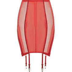 La Perla Frames Suspender Skirt with Straps featuring polyvore, women's fashion, clothing, skirts, lingerie, red, red stretch skirt, stretch skirts, wet look skirt, stretchy skirt and fitted skirts