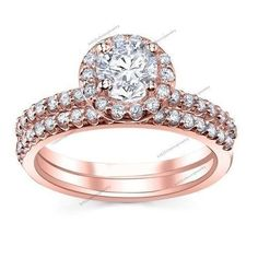 1.85 CT Halo Round Cut Clear Diamond Engagement Ring Band Bridal Ring Set Size 7 #br925silverczjewelry