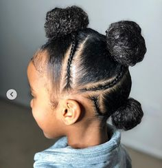 Hairstyles braids Perfect simple protective style, buns and braids design. Perfect simple protective style, buns and braids design. Black Kids Hairstyles, Natural Hairstyles For Kids, Baby Girl Hairstyles, Kids Braided Hairstyles, Toddler Hairstyles, Hairstyles Videos, School Hairstyles, Little Girl Braids, Black Girl Braids