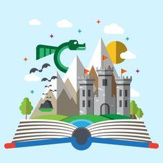 Livre d'histoire des enfants Vecteur gratuit