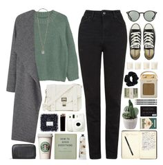 """""""241016"""" by rosemarykate ❤ liked on Polyvore featuring Proenza Schouler, Topshop, MANGO, Miss Selfridge, Converse, GAS Jeans, Ray-Ban, Monki, Fuji and Forever 21"""